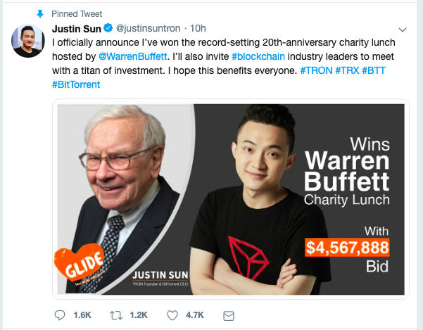 Crypto Millionaire Wins $4.57M Lunch Bid with Billionaire Investor Warren Buffett